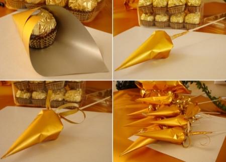 Как сделать букеты из конфет и бумаги